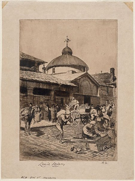 An image of Old George Street Markets, York Street side by Lionel Lindsay
