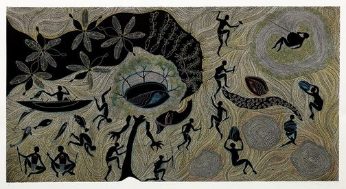 An image of Aib Ene Zogo ni Pat (Aib and the sacred waterhole) by Daniel O'Shane