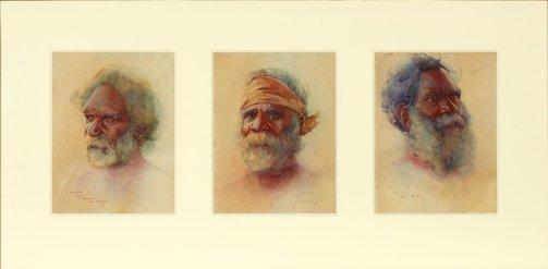 An image of Heads of Australian Aboriginal people (a. Merriman, King of Bermagui; b. Coonimon, Bermagui; c. Droab, Bermagui) by BE Minns