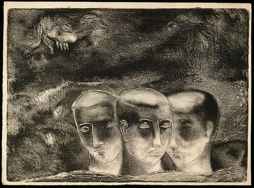 An image of The blind man (trial proof etching) by David Strachan