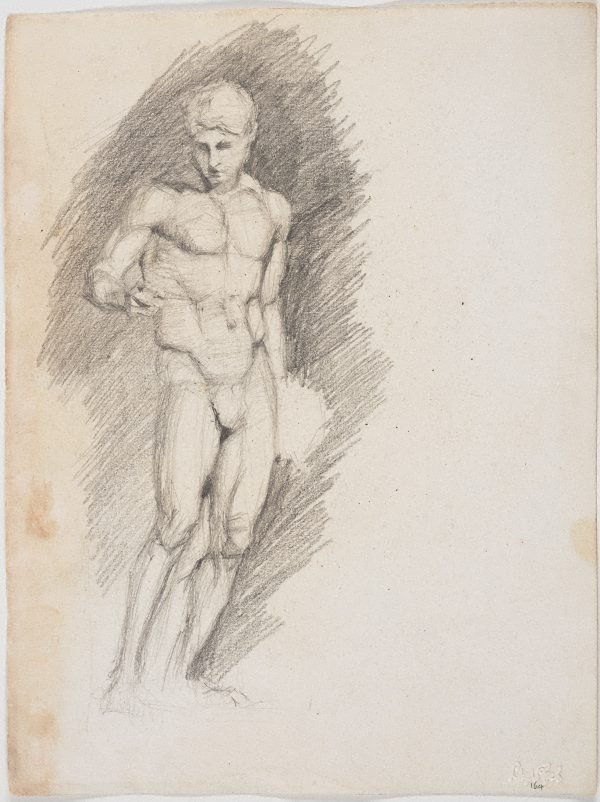 An image of recto: Study, standing male verso: Tree study