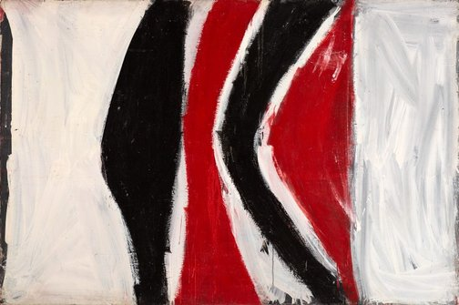 An image of Four uprights, red and black by Tony Tuckson