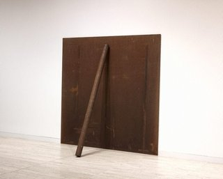 AGNSW collection Richard Serra Plate pole prop (1969, 1983) 340.2011.a-b