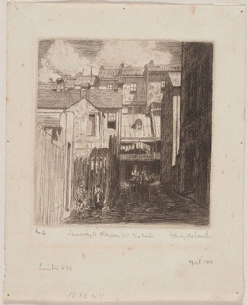 An image of Laneway to Playfair St, The Rocks by Sydney Ure Smith