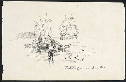 An image of Sketch for Composition (Ships by the shore) by Lyonel Feininger
