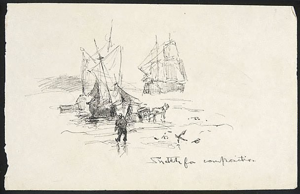 An image of Sketch for Composition (Ships by the shore)