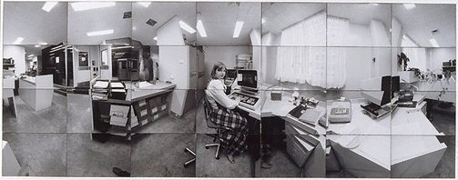 An image of Company time - company space (Diana Williams in Accounts room, CSR head office, Sydney) by John F Williams