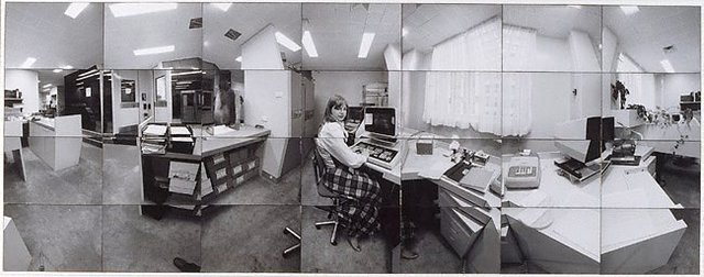 An image of Company time - company space (Diana Williams in Accounts room, CSR head office, Sydney)