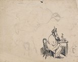 Alternate image of recto: Study for 'Snow-bound', verso: Seated female study by Lyonel Feininger
