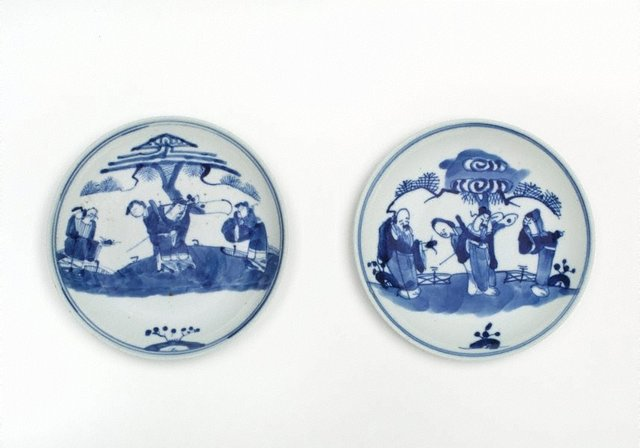 An image of Pair of blue and white dishes