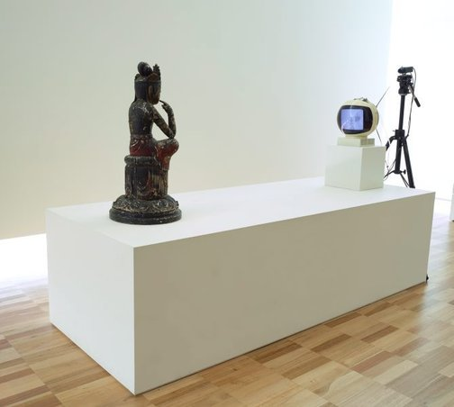 An image of TV Buddha by Nam June Paik
