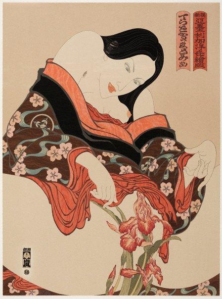 An image of Woman and iris by Masami Teraoka