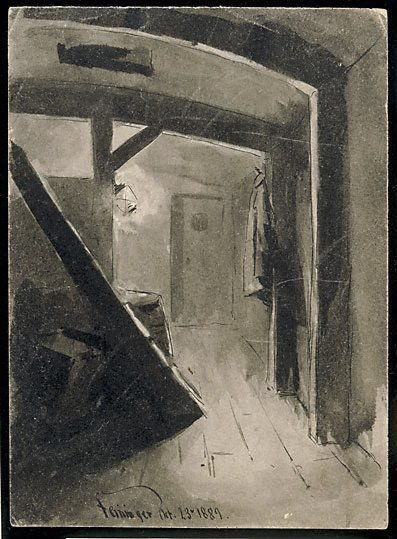 An image of (Interior, below deck in a ship)