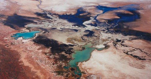 An image of 4833 Seawater leaching into Lake Macleod, north of Carnarvon, Western Australia by Richard Woldendorp