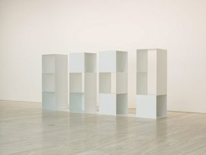 Three-part variations on three different kinds of cubes - elements for serial projects: 2 2 3 (4 parts), (1975) by Sol LeWitt