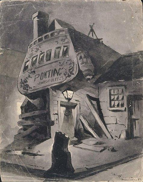 An image of Sketch (Pontiac, Marseilles) by Lyonel Feininger