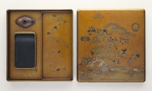 An image of Inkstone case with design of pine tree and citrus by