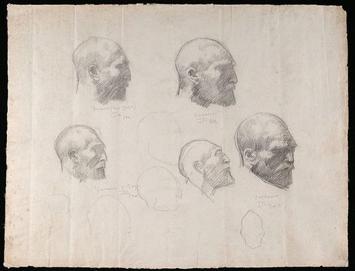 An image of Five studies of Vincent van Gogh by John Russell
