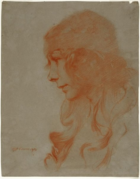 An image of Study (study of a girl's head) by Robert Burns