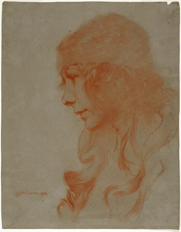 An image of Study (study of a girl's head)