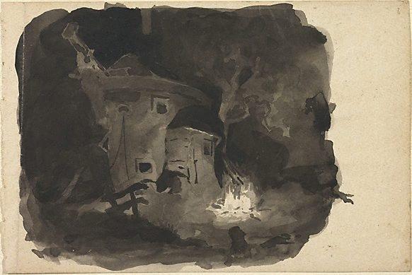 An image of (Night: a fire lit beside a hulk)
