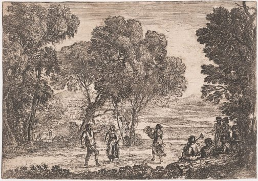 An image of The country dance - small plate by Claude Lorrain