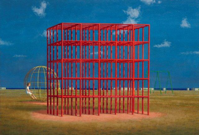 Playground at Mondragone, (1998) by Jeffrey Smart