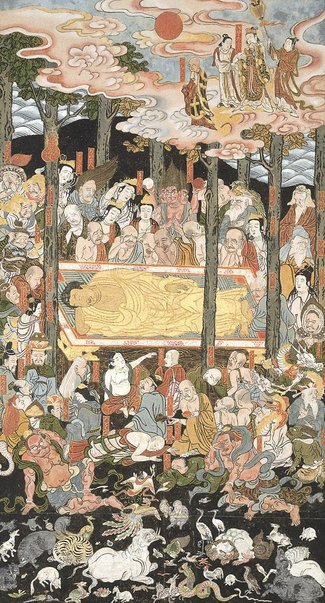 An image of The Buddha's parinirvana by Monk Gyokusen