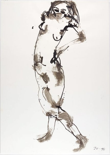 An image of Standing female nude, hands on hips by John Olsen