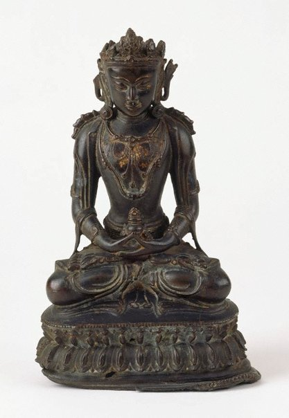 An image of Seated crowned Buddha in meditation (dhyana mudra) by
