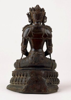 Alternate image of Seated crowned Buddha in meditation (dhyana mudra) by