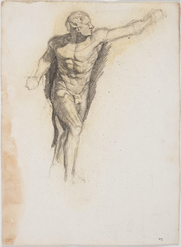 An image of recto: From the cast of 'Borghese' warrior or gladiator, Art School verso: Man in a sulky
