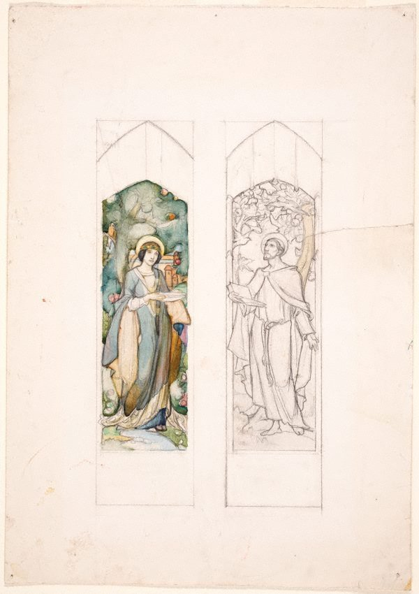 An image of Design for stained glass, St Clare and St Francis