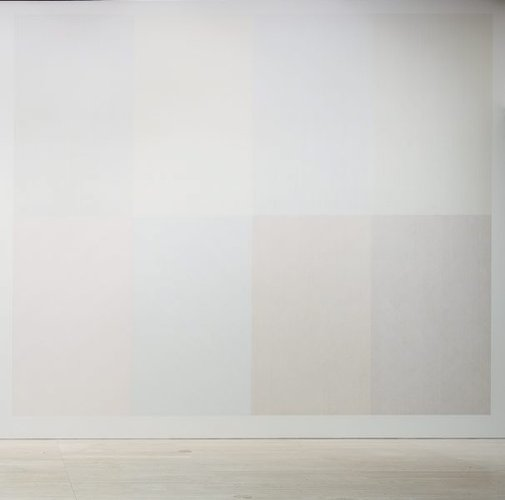 An image of Wall drawing #338: Two part drawing. The wall is divided vertically into two parts. Each part is divided horizontally and vertically into four equal parts. 1st part: Lines in four directions, one direction in each quarter. 2nd part: Lines in four directions, superimposed progressively. by Sol LeWitt