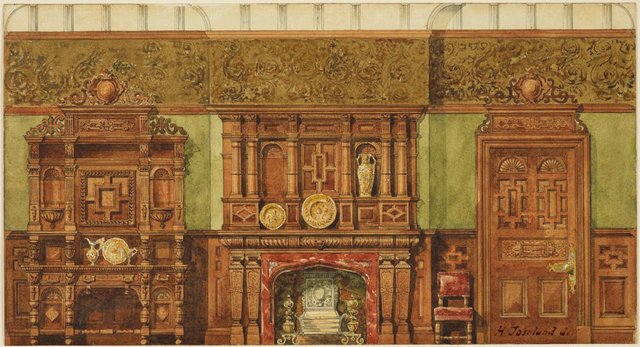 An image of Dining-room interior, Elizabethan style