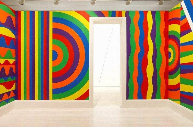 An image of Wall drawing #1091: arcs, circles and bands (room)