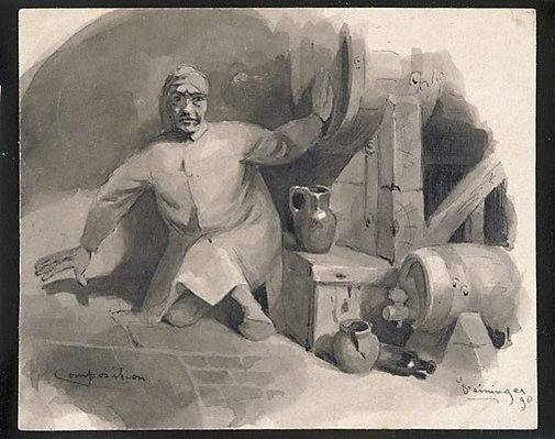 An image of Composition (Man in a nightshirt, beside barrels) by Lyonel Feininger