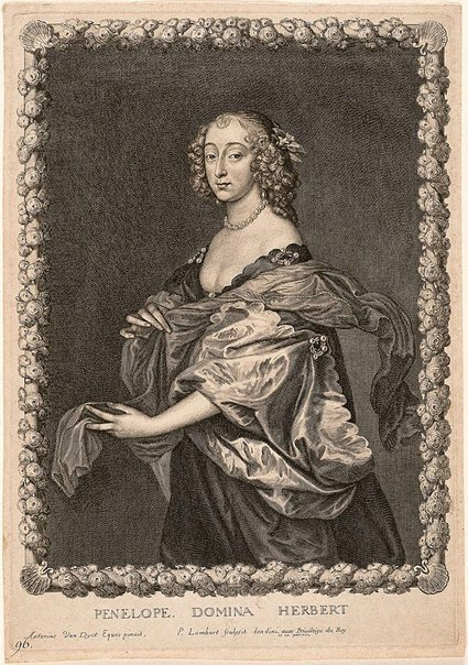An image of Penelope, Lady Herbert, later Countess of Pembroke by Pierre Lombart, after Sir Anthony van Dyck