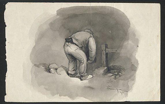 An image of (Man stooping, turning away)