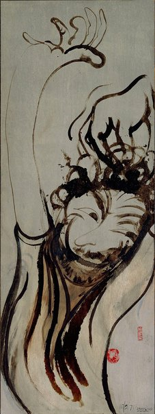 An image of Self portrait after three bottles of wine by Brett Whiteley