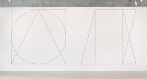 Wall drawing #303: Two part drawing. 1st part: circle, square, triangle, superimposed (outlines). 2nd part: rectangle, parallelogram, trapezoid, superimposed (outlines), (1977) by Sol LeWitt