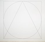 Alternate image of Wall drawing #303: Two part drawing. 1st part: circle, square, triangle, superimposed (outlines). 2nd part: rectangle, parallelogram, trapezoid, superimposed (outlines) by Sol LeWitt