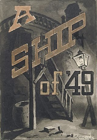 """An image of Idea for title page (for Bret Harte's """"A ship of '49"""") by Lyonel Feininger"""