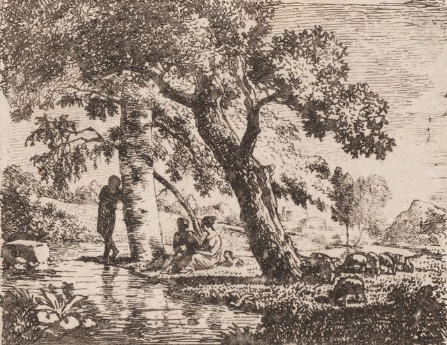 An image of Untitled (Landscape with figures by a river)