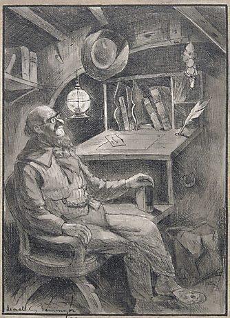 "An image of Mr. Abner Knott on ""Steamboat night"" (illustration for Bret Harte's ""A ship of '49"") by Lyonel Feininger"