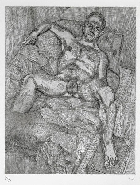 An image of Man posing by Lucian Freud
