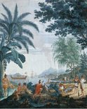 Alternate image of Les Sauvages de la Mer Pacifique: 1. (Native hut), 2. (3 dancers), 3. (Sailing boat), 4. (Natives & goat) by Joseph Dufour, Jean-Gabriel Charvet