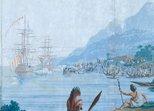 Alternate image of Les Sauvages de la Mer Pacifique: 1. (Native hut), 2. (3 dancers), 3. (Sailing boat), 4. (Natives & goat) by Joseph Dufour, Jean-Gabriel Charvet