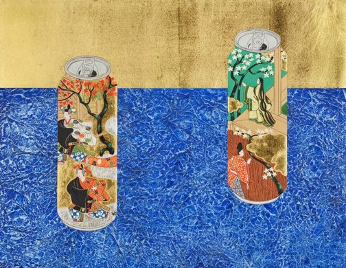 An image of Cans decorated with scenes of chapters 'Young Murasaki' and 'Beneath the autumn leaves' from 'The Tale of Genji' on blue carpet by Yamamoto Tarō