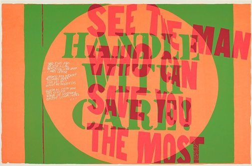 An image of handle with care by Corita Kent